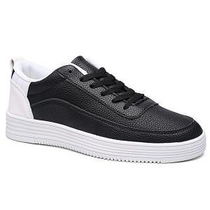 PU Leather Breathable Lace Up Casual Shoes - White And Black - 44