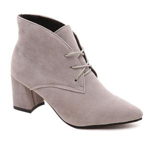 Tie Up Chunky Heel Pointed Toe Suede Ankle Boots - Gray - 39