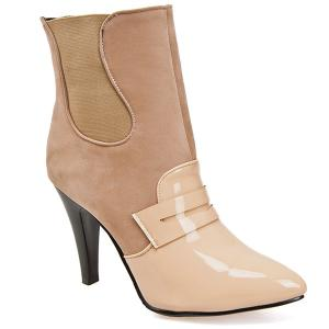 Elastic Band Spliced Pointed Toe Ankle Shoes