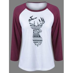 Raglan Sleeve Deer Pattern Christmas T-Shirt - Black And White And Red - L