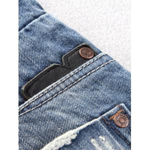 Button Fly Five-Pocket Narrow Feet Ripped Jeans -
