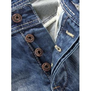 Button Fly Five-Pocket Narrow Feet Ripped Jeans - DEEP BLUE 42