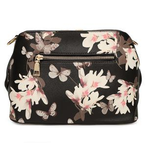Butterfly Pattern Floral Print Metal Crossbody Bag -