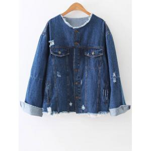 Raw Edge Patched Back Denim Jacket