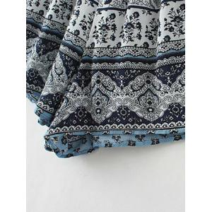 Off The Shoulder Boho Paisley Print Romper - BLUE L