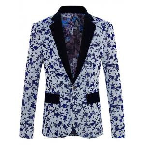 Floral Pattern One-Button Lapel Long Sleeve Blazer For Men