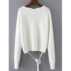 String V Neck Loose Sweater - WHITE ONE SIZE