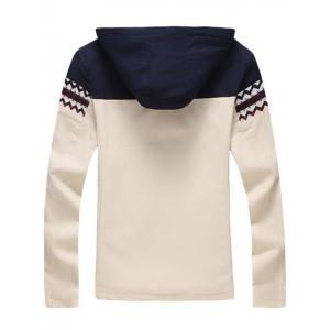 Plus Size Color Block Jacquard Splicing Hooded Zip-Up Jacket -