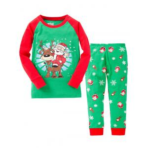 Christmas Santa Claus Long Sleeves Pants Pyjamas Sets - Green - 130