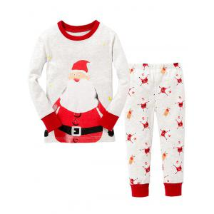 Christmas Pants Santa Claus Printed Long Sleeves Pajamas Twinset Pyjamas Sets - White - 90