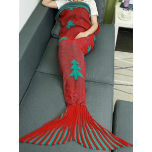 Crochet Knitting Christmas Trees Mermaid Tail Style Blanket