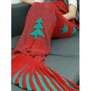 Crochet Knitting Christmas Trees Mermaid Tail Style Blanket - RED