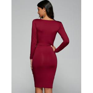 Twist Front Long Sleeve Bodycon Formal Dress - RED L