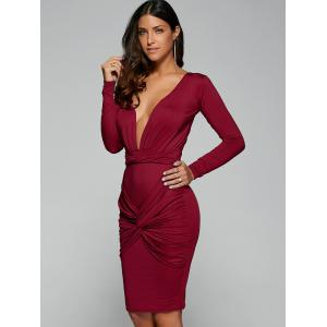 Twist Front Long Sleeve Bodycon Formal Dress - RED M