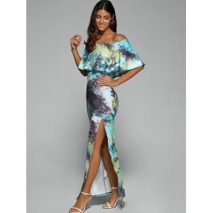 Off The Shoulder Maxi Bodycon Dress with Slit - LAKE BLUE S
