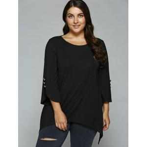 Button Embellished Sleeve Asymmetrical Blouse - BLACK XL