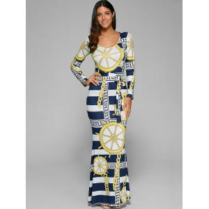 Stripe Fitted Long Sleeve Maxi Dress - STRIPE XL