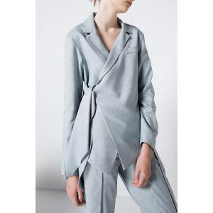Tied Asymmetric Blazer - LIGHT GRAY L