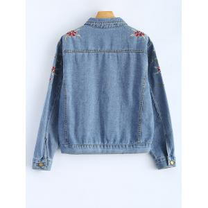 Shirt Neck Retro Floral Embroidered Denim Jacket -
