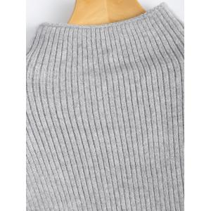 Mock Neck Puff Sleeve Pullover Sweater -