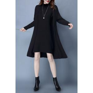 Mock Neck Ribbed Knitted Dress and Longline Cardigan - Black - Xl