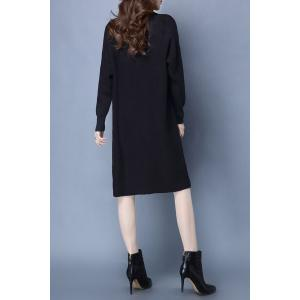 Mock Neck Ribbed Knitted Dress and Longline Cardigan - BLACK XL
