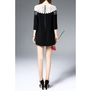 Mini Embroidered Openwork Dress - BLACK S