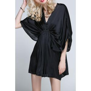 Mini Bat Sleeve Draped Dress -
