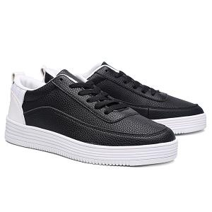 PU Leather Breathable Lace Up Casual Shoes - WHITE AND BLACK 43