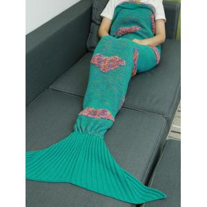 Colorful Peach Heart Crochet Knitting Fish Scales Design Mermaid Tail Style Blanket -