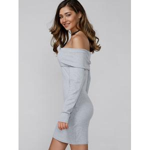 Off Shoulder Long Sleeve Bodycon Mini Fitted Dress - LIGHT GRAY XL
