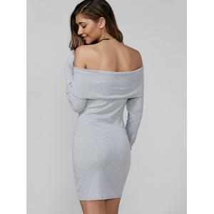 Off Shoulder Long Sleeve Mini Fitted Dress - LIGHT GRAY L