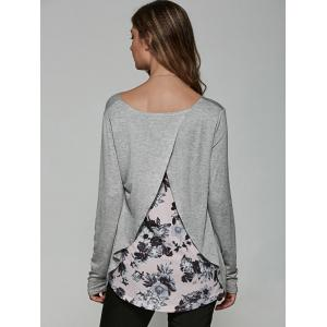 Back Surplice Floral Print Casual T-Shirt - GRAY XL