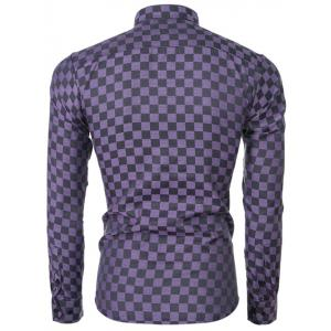 Button Up Long Sleeve Grid Pattern Shirt - PURPLE XL
