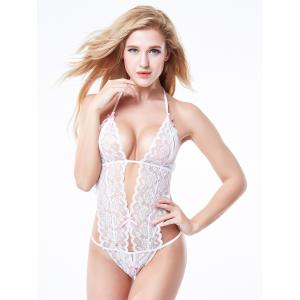 Halter Backless Sheer Lace Teddy -