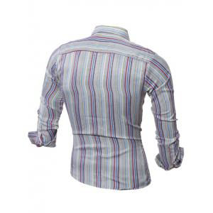 Long Sleeve Colorful Striped Shirt - COLORMIX 2XL