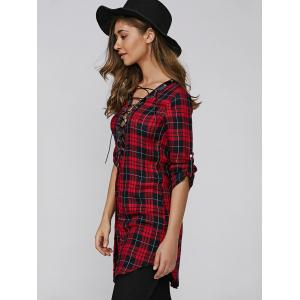 Lace Up Plaid Buttoned Shirt Dress - DEEP RED XL