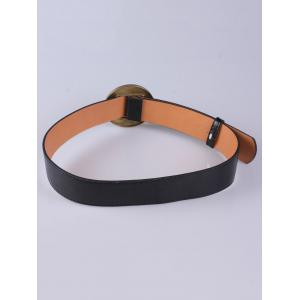 Coat Wear Hollow Square Round Buckle Wide Belt - BLACK