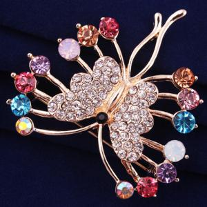Polished Filigree Rhinestone Butterfly Brooch - ROSE GOLD
