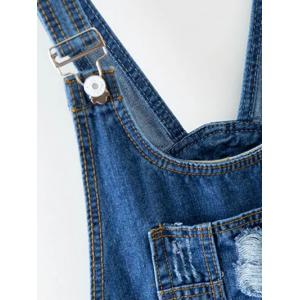 Buttoned Ripped Denim Overalls -