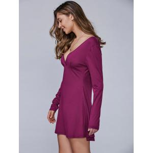 Long Sleeves Surplice Dress - WINE RED L