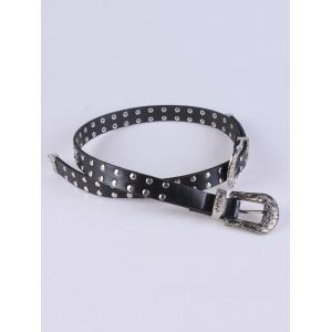 Coat Wear 2 Buckle Studded Waist Belt - BLACK