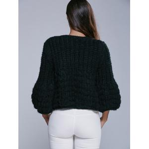Faux Mohair Puff Sleeve Short Sweater -