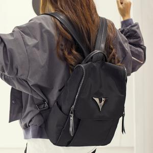 Metal Zip Nylon Backpack - BLACK
