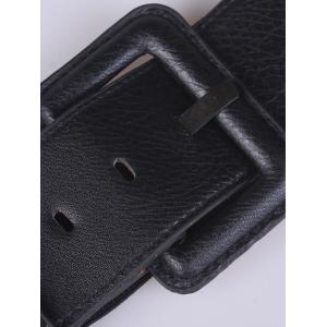 Coat Wear PU Large Pin Buckle Stretch Belt - BLACK