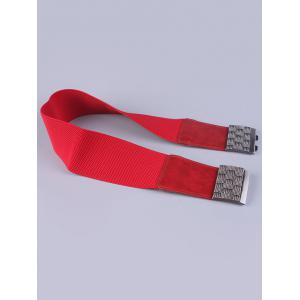 Coat Wear Weaving Metal Basket Buckle Stretch Belt - RED