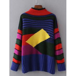 Geometric Pattern Ribbed Sweater -