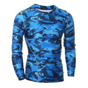 Camo T-Shirt and Elastic Waist Gym Pants Twinset - BLUE 2XL