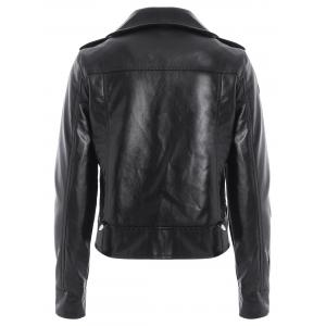 PU Epaulet Biker Short Jacket - BLACK L
