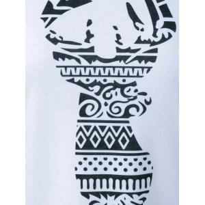 Raglan Sleeve Deer Pattern Christmas T-Shirt - BLACK AND WHITE AND RED XL